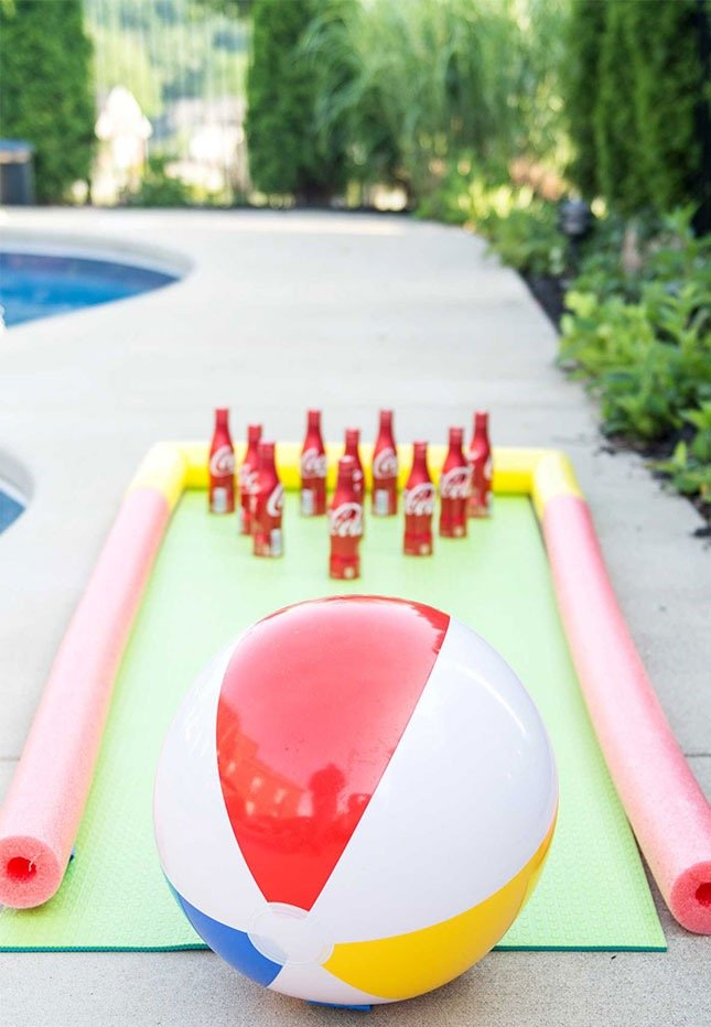 beach ball bowling, summer birthday pool party games