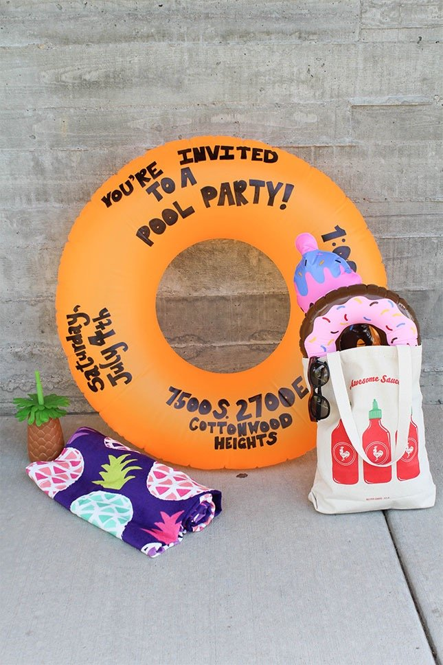 summer birthday pool party invitation ideas