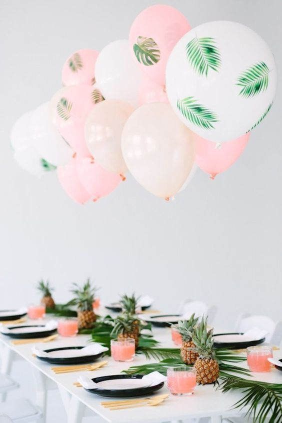 peach and pineapple themed summer birthday pool party ideas
