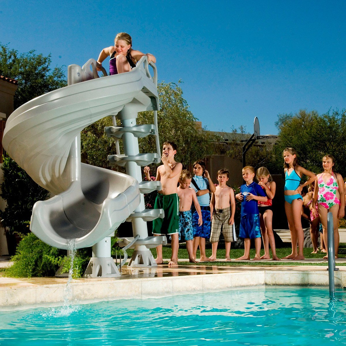 residential swimming pool water slides