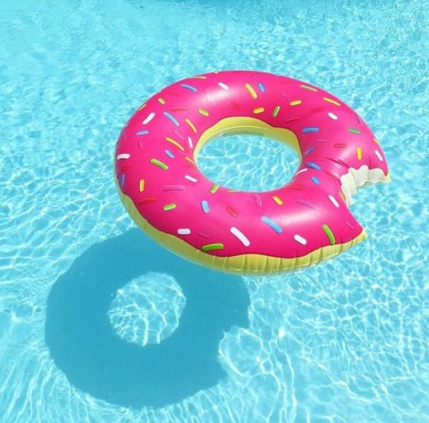 donut pool floaty toy, summer birthday pool party invitation ideas