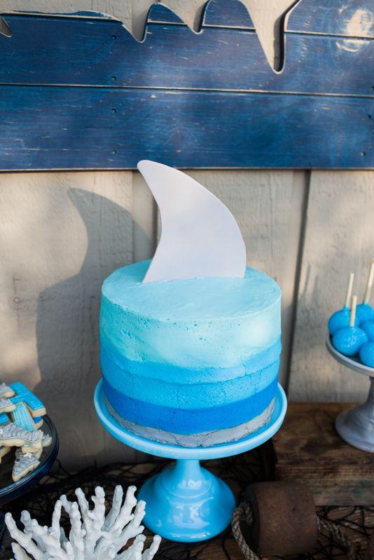 shark themed summer birthday pool party ideas, shark cake